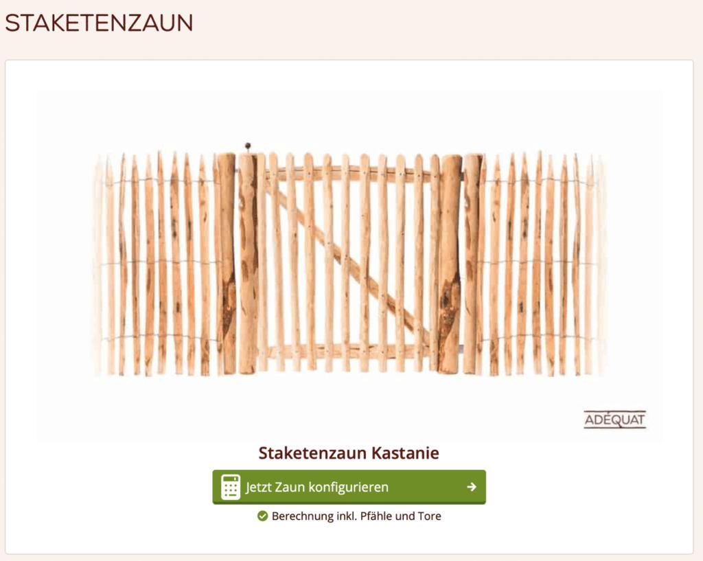 screenshot von einem zaun konfigurator